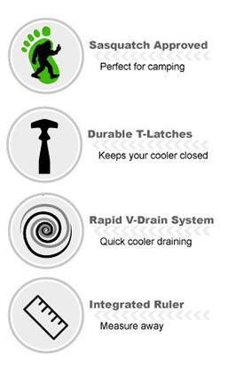 Cooler description, Sqasquatch proof, durable latches, rapid v-drain system