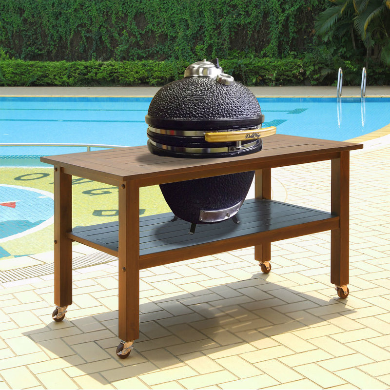 Duluth Forge 18 Inch Kamado Grill With Table - Brown Spice