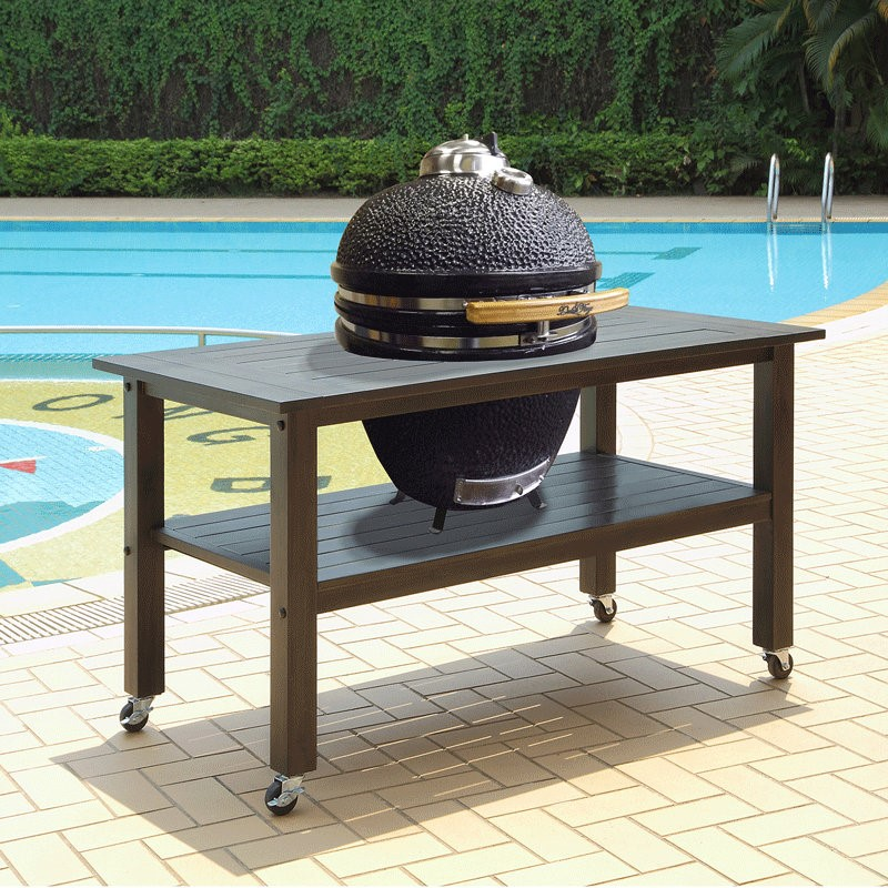 Duluth Forge 21 Inch Kamado Grill With Table - Antique Grey